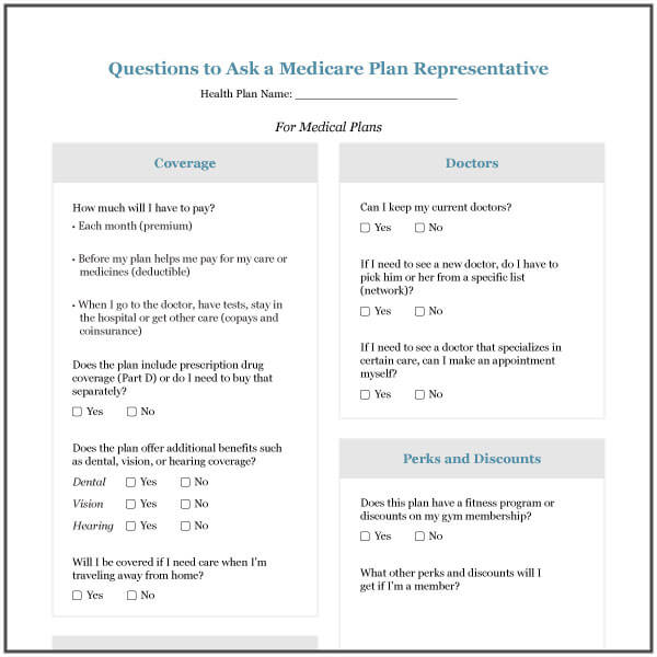 Worksheet to compare Medicare plan